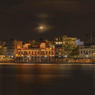 Full moon lights up chalkida's coast